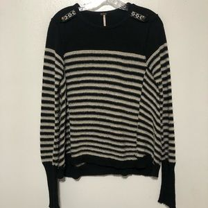 Free People Striped Sweater Cotton Angora Wool
